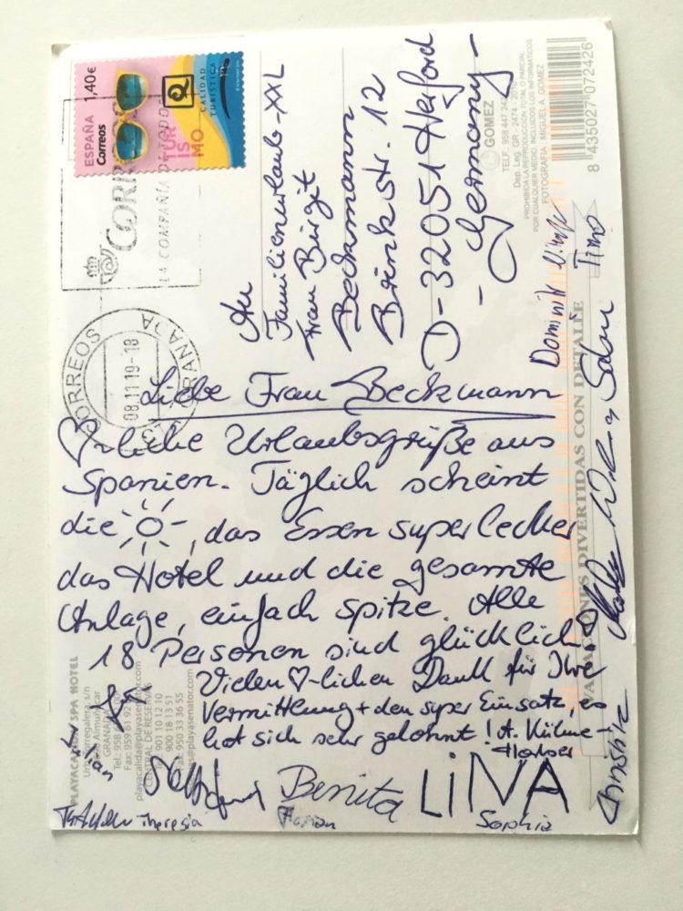 Postkarte aus dem Urlaub von einem Kunden
