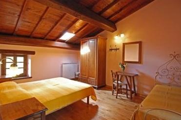 Gemütliches Schlafzimmer direkt unter dem Dachgiebel