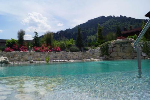 Schön angelegter Badeteich im Garten